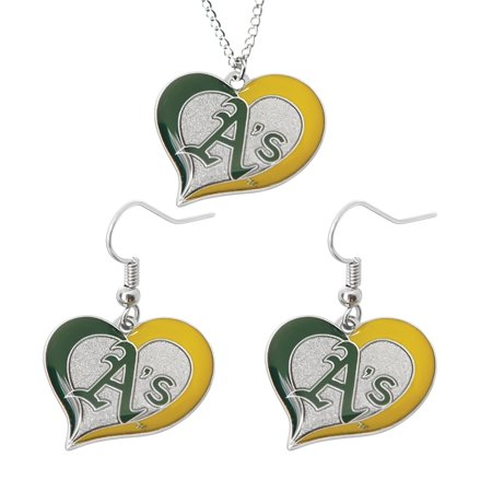 MLB Oakland Athletics A's Swirl Heart Necklace and Dangle Earring Set Charm Gift - image 1 of 1