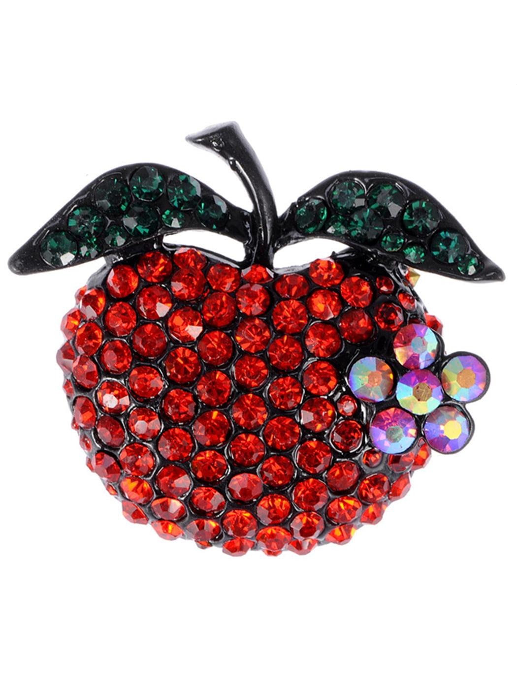 Ruby Red Crystal Rhinestone Emerald Leafy Teacher's Pet Apple Fruit Pin Brooch by
