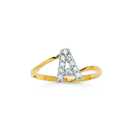 "FB Jewels 14K Yellow Gold Cubic Zirconia CZ Initial Letter Fashion Anniversary Ring ""W"" Size 10.5"