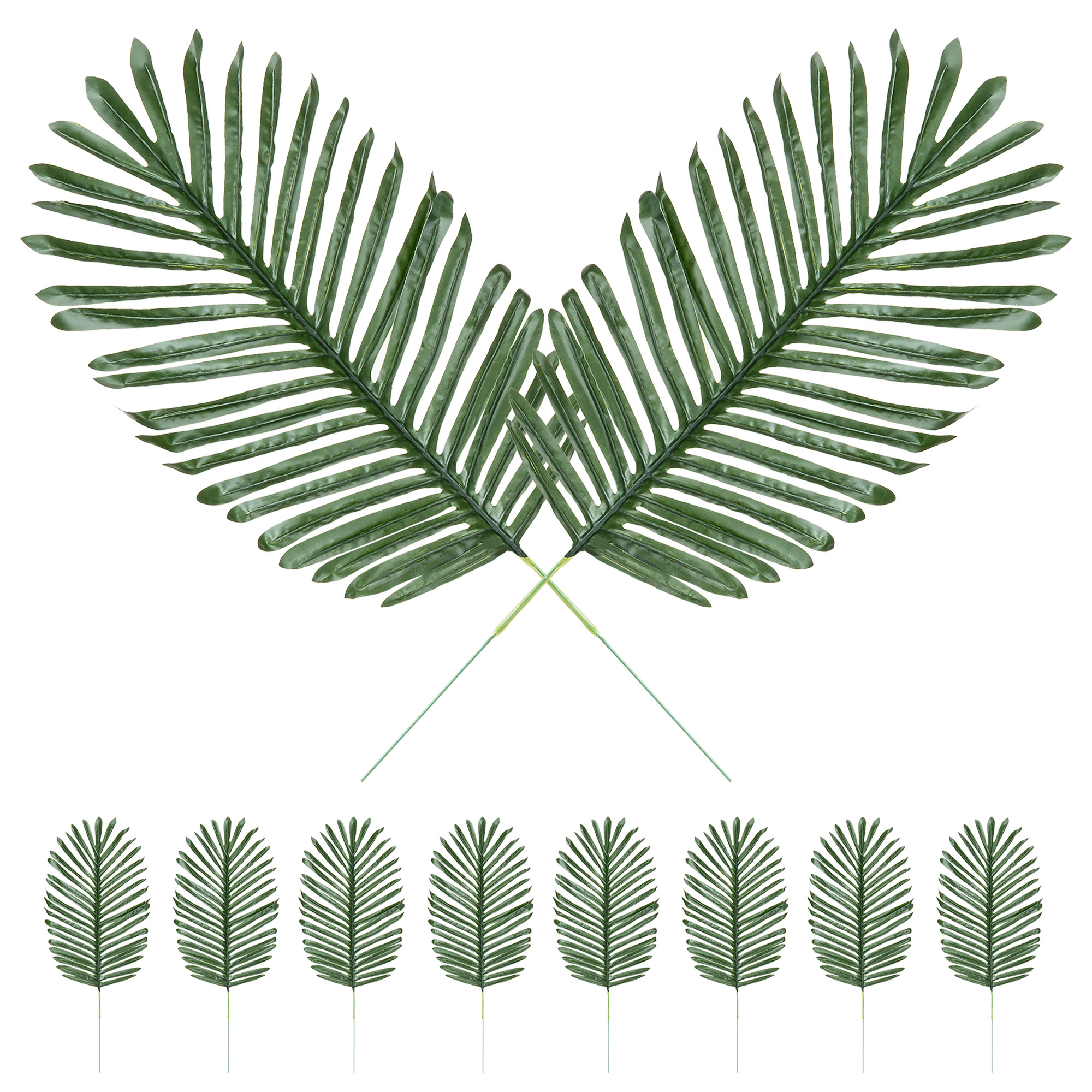 Best Choice Products Set of 10 23in Artificial Tropical Palm Tree Plant Leaves Decor for Home, Party, Wedding - Green