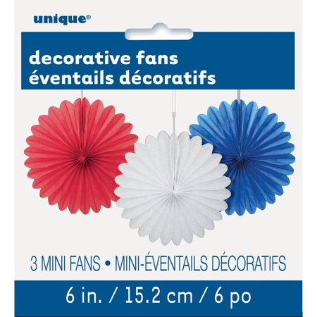 Patriotic Tissue Paper Fan Decorations, 6 in, Red White and Blue, - Red Tissue Fan