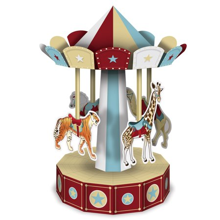 """Club Pack of 12 Red and Brown 3-D Vintage Circus Carousel Centerpieces 10"""" - Carnival Centerpieces"""