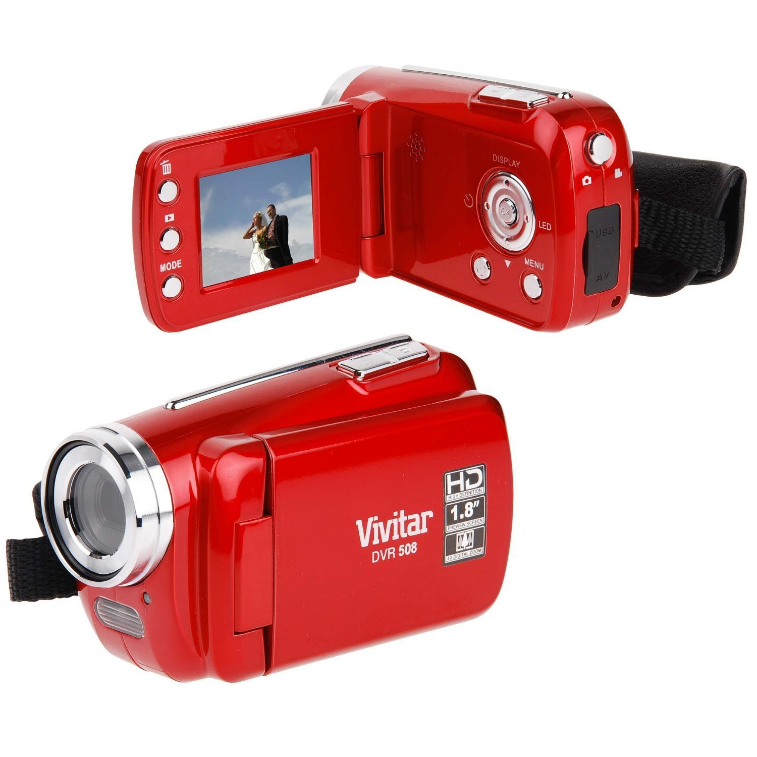 Vivitar DVR508 Digital Video Camera Camcorder Strawberry Red - DVR508-STRAW