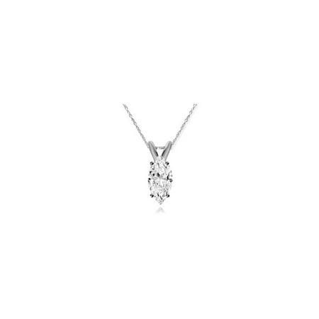 1/4ct Marquise Solitaire 14K Diamond White Gold Pendant