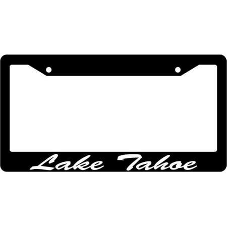 Lake Tahoe Script Black Plastic License Plate Frame EBS Script License Plate Frame