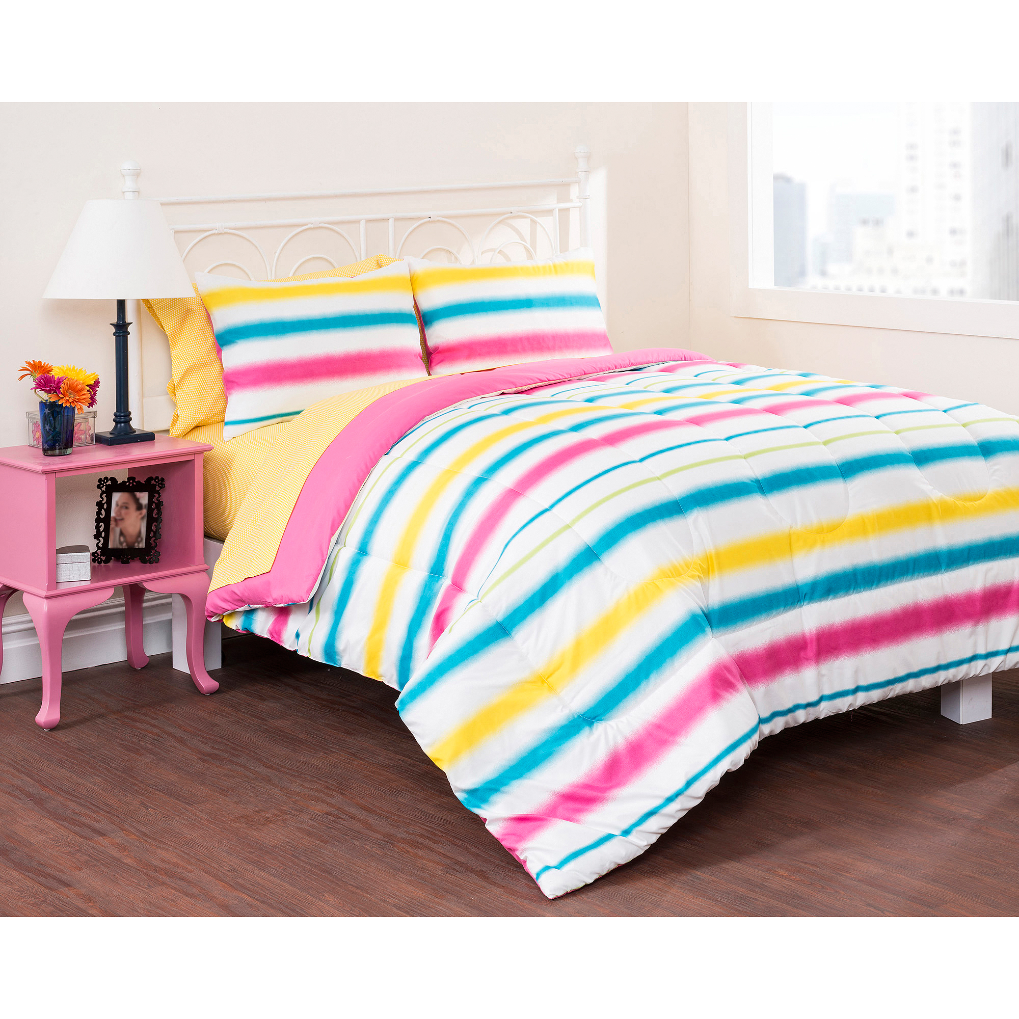 Latitude Watercolor Stripe Bed in a Bag Bedding Set