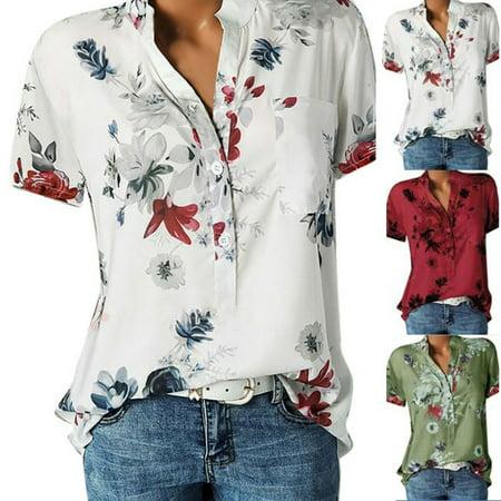Women V-neck Shirt Casual Floral Print Short Sleeved Shirts Tops - V-neck Floral Print Shirt