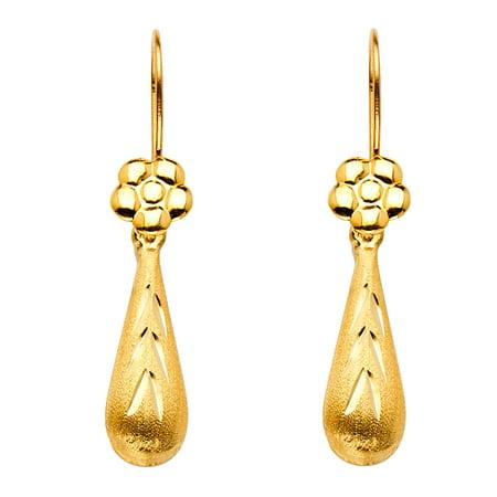 Flower Teardrop Dangle Earrings Solid 14K Yellow Gold Diamond Cut Satin Finish Fancy 26 X 6 Mm