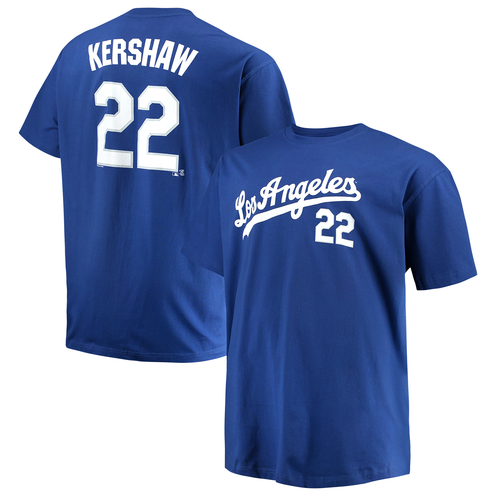 Men's Majestic Clayton Kershaw Royal Los Angeles Dodgers MLB Name & Number T-Shirt