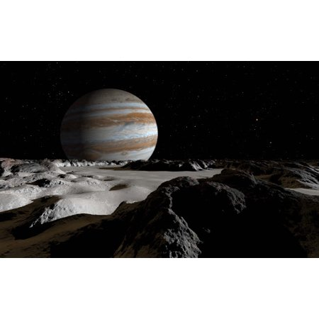 - Jupiters large moon Europa is covered by a thick crust of ice Poster Print by Ron MillerStocktrek Images