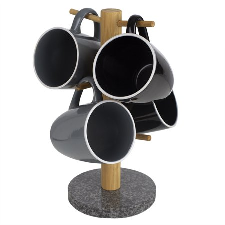 6 Cup Bamboo Mug Tree Holder Stand with Granite Base, (Tree Cup)