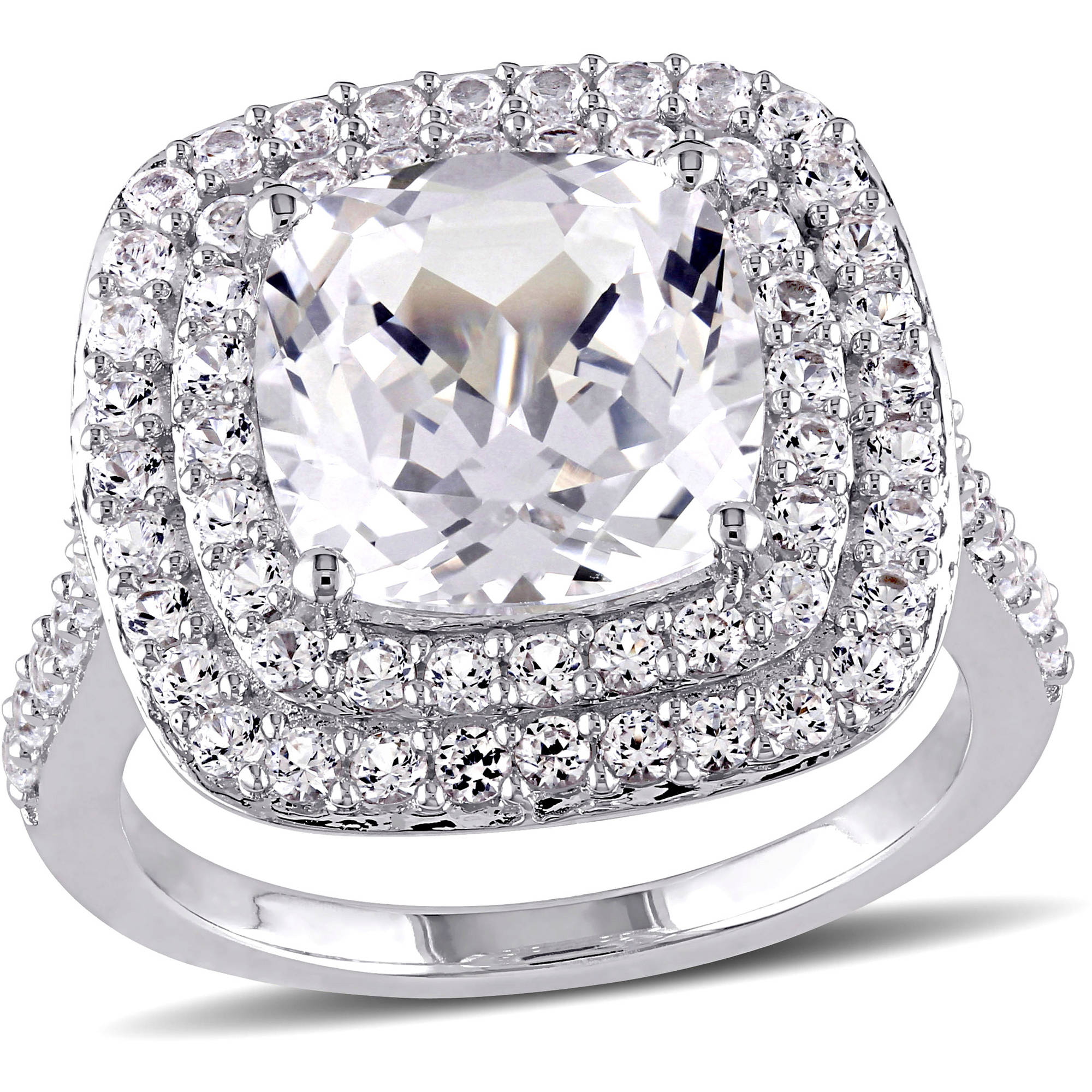 Miabella 7-1/10 Carat T.G.W. Created White Sapphire Sterling Silver Halo Engagement Ring
