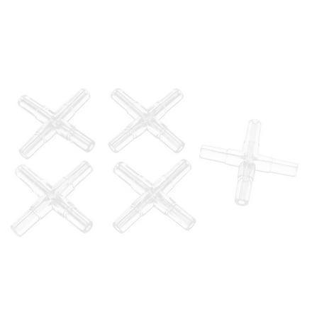 Unique Bargains 5 Pcs Plastic 4 Ways Cross Shaped Aquarium Air Valves Splitter Clear
