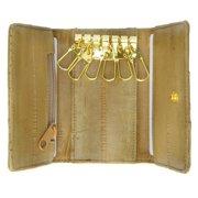 Eel skin key holder wallet Tan