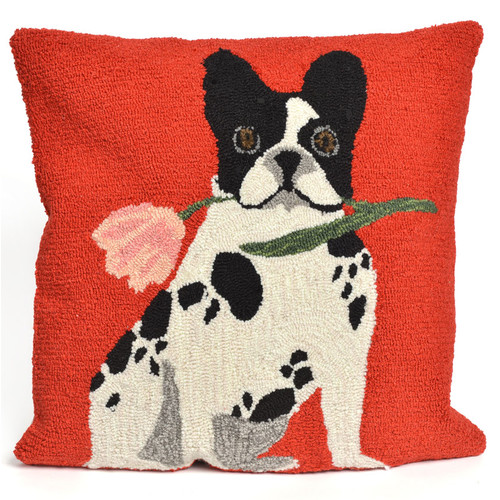 Frontporch Flowery Frenchy Pillow-Color:Red