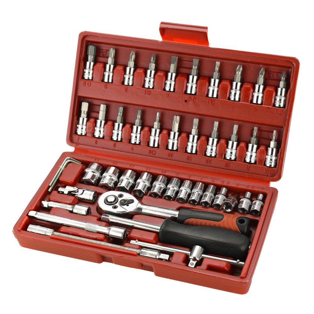 46pcs Multifunctional Professional Steel Socket Wrench Tool Set Car Repair Toolbox Automobile and Motorcycle Tools