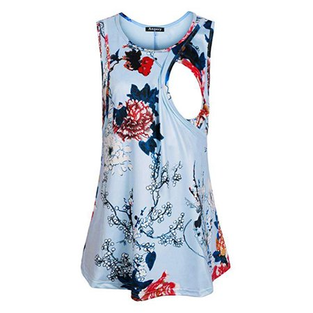 Jchiup Maternity Floral Nursing Tank Tops Comfy Breastfeeding Shirts
