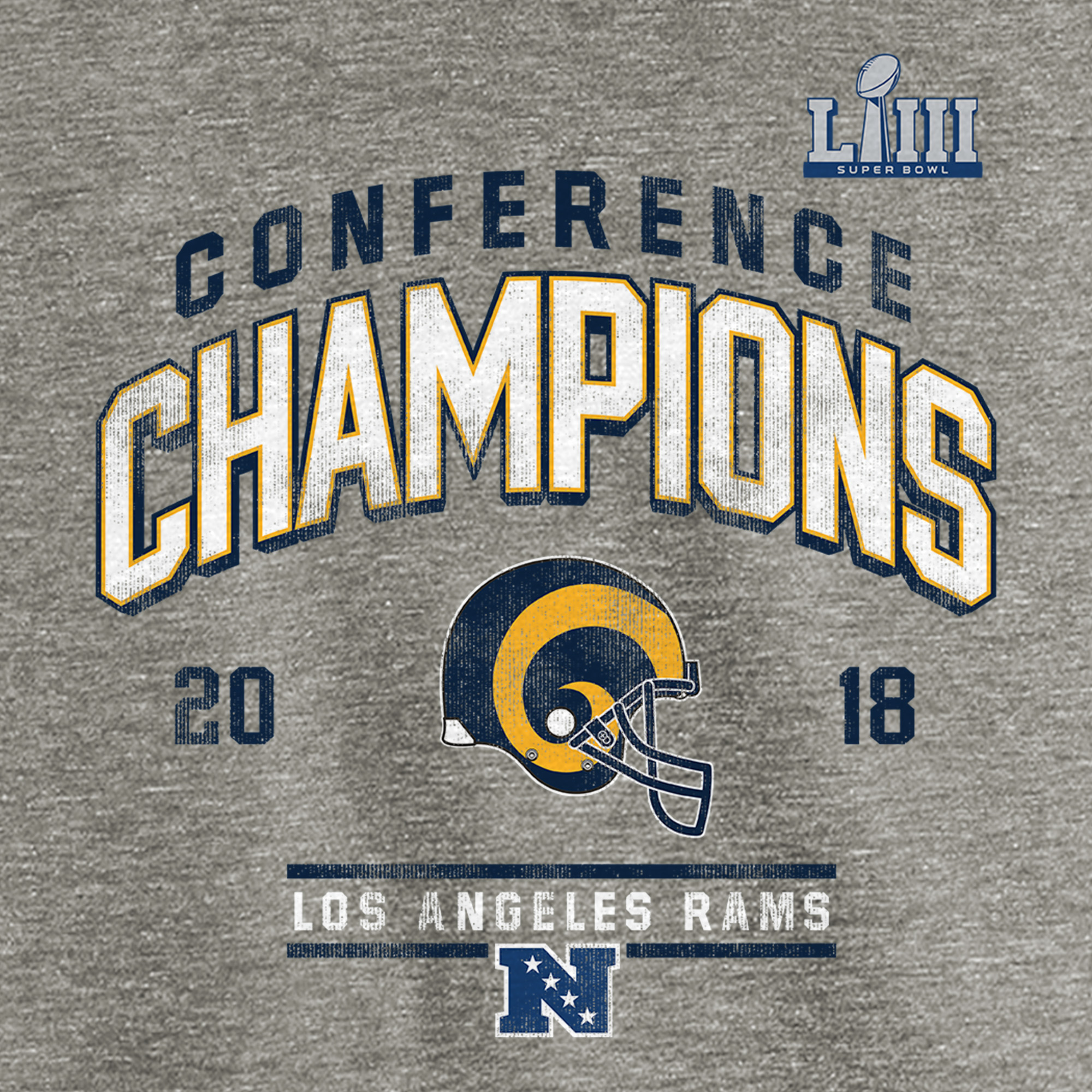 c99043d1 Los Angeles Rams NFL Pro Line by Fanatics Branded 2018 NFC Champions  Halfback Sweep Raglan Long Sleeve T-Shirt - Heather Gray - Walmart.com