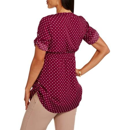 Oh! Mamma Maternity 3/4 Sleeve Polka Dot Cinched Waist Shirt