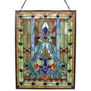 CHLOE Lighting Tiffany-glass Victorian Window Panel 18x24