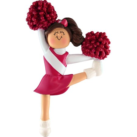 Cheerleader Red Uniform Brown Personalized  Christmas Ornament DO-IT-YOURSELF ()