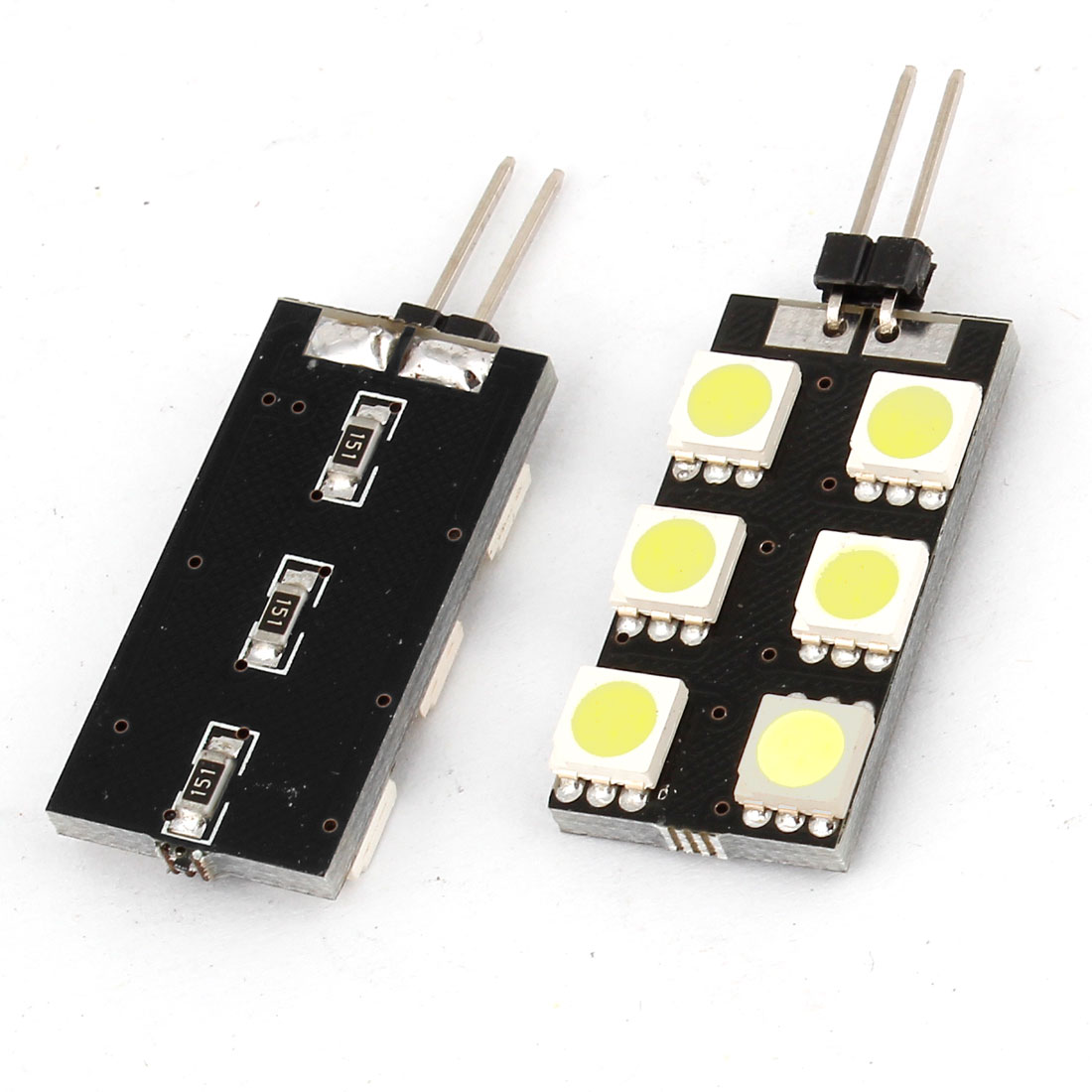 Unique Bargains 2 Pcs G4 Side Pin 5050 SMD 6 LED White Light Signal Spare Bulbs for Automobile