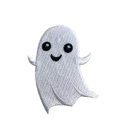 Halloween Ghost - Smiling/Friendly - Iron on Applique/Embroidered Patch (Halloween Iron On Hobby Lobby)