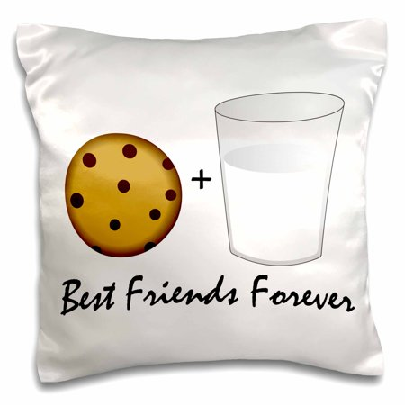3dRose Cute Cartoon Milk and Cookies - Best Friends Forever - Pillow Case, 16 by