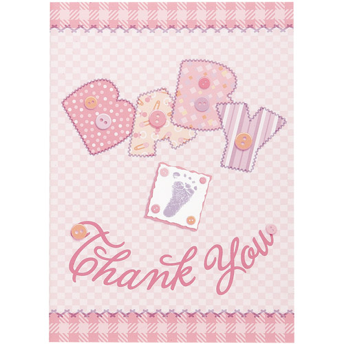 Pink Stitching Baby Shower Thank You Notes, 8pk