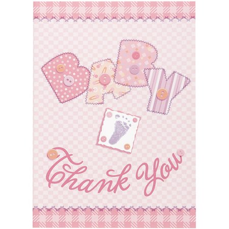 Pink Stitching Baby Shower Thank You Notes, - Frozen Thank You