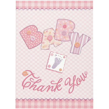 Pink Stitching Baby Shower Thank You Notes  8Pk