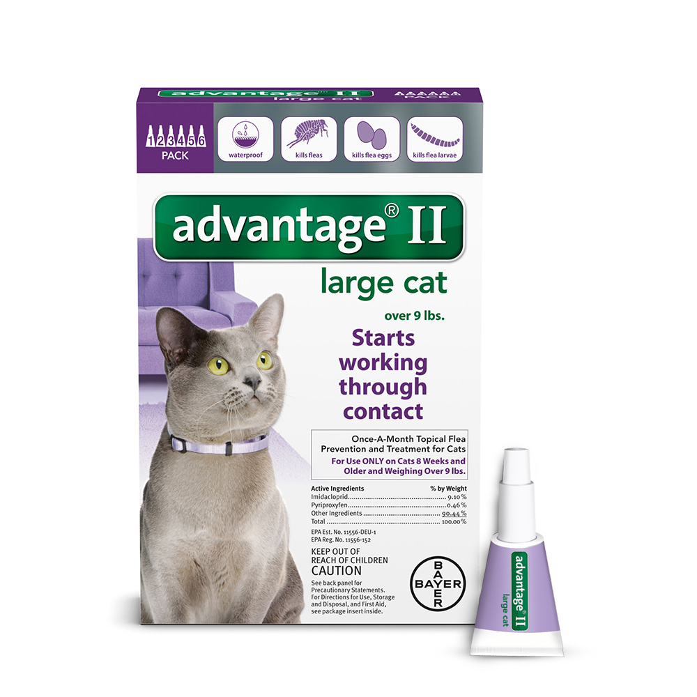 Advantage II Flea & Tick Treatment for Large Cats, 6 Monthly Treatments by Bayer