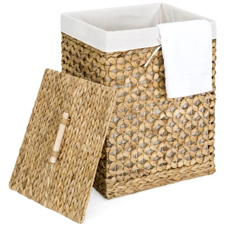 Best Choice Products Woven Water Hyacinth Wicker Portable Decorative Laundry Clothes Hamper Basket for Bedroom, Bathroom, Laundry Room w/ Removable Liner Bag, Lid, Natural ()