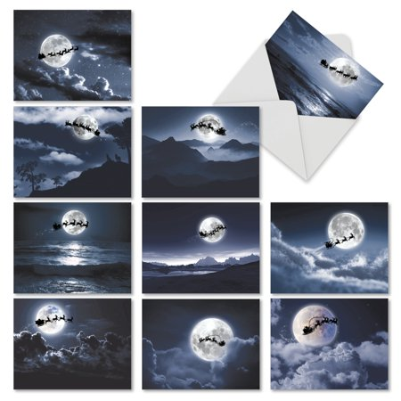 M6713XSG SLEIGH MOON' 10 Assorted Merry Christmas Note Cards with Envelopes by The Best Card