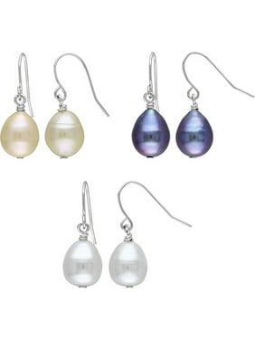 Miabella 9-10mm Freshwater Pearl Drop Earrings, Set of 3