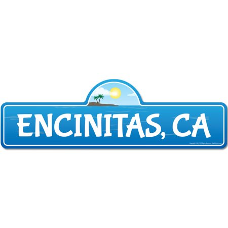 Encinitas, CA California Beach Street Sign | Indoor/Outdoor | Surfer, Ocean Lover, Décor For Beach House, Garages, Living Rooms, Bedroom | Signmission Personalized Gift - Personalized Outdoor Signs