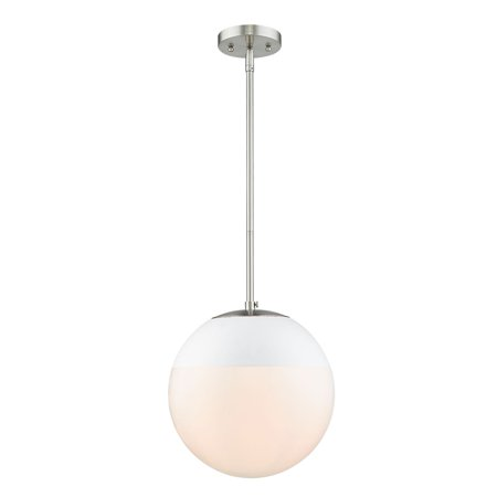 Dixon Pendant in Pewter with Opal Glass and White (Opal Glass Accent)