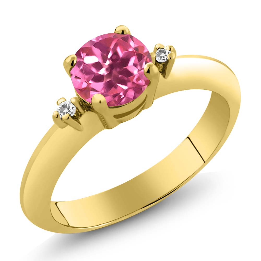 1.02 Ct Round Pink Mystic Topaz Sapphire Gold Plated Sterling Silver Ring