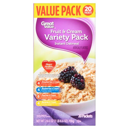 Great Value Instant Oatmeal, Fruit & Cream Variety Pack, 20 Count