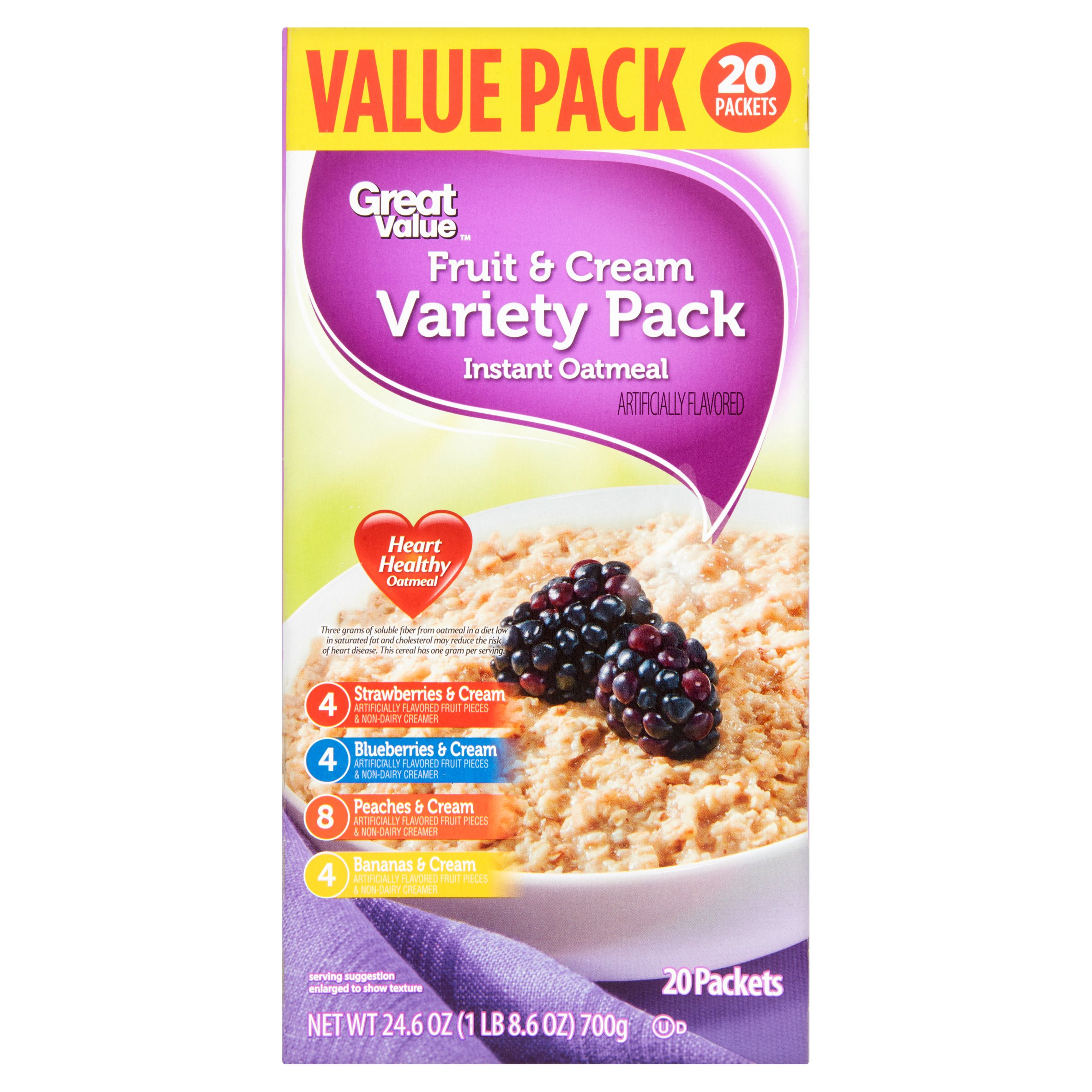 Great Value Instant Oatmeal, Fruit & Cream Variety, 24.6 Oz, 20 Ct