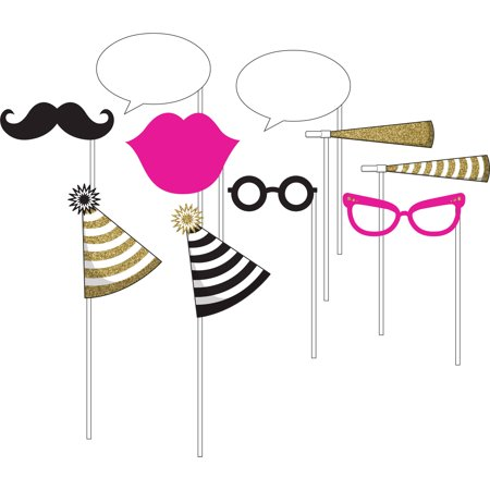 Black and Gold Photo Booth Props, 10pk
