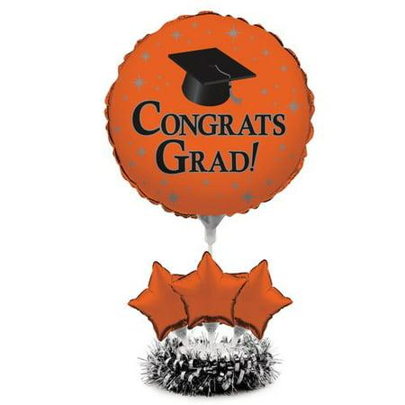 Orange Grad Air-Filled Balloon Centerpiece (College Graduation Centerpiece Ideas)