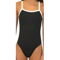 a5e777ba1e Product Image Adoretex Women s Polyester Solid Thin Strap Open Back Swimsuit  (FP007) - Black white