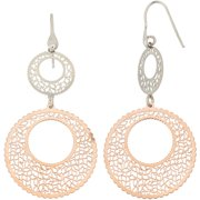 Rose Gold- and Rhodium-Plated Sterling Silver Geometric Shape Cut-Out Dangle Earrings