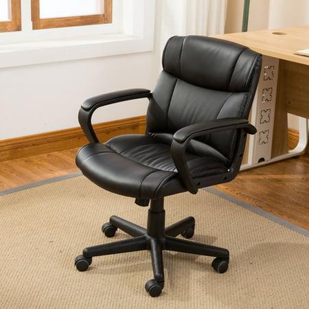 Belleze Ergonomic Mid-Back Office Chair Computer Padded Armrest, Black
