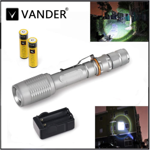VANDER XM-L T6 5000 Lumens Vander Zoomable LED Flashlight Torch+ 2xBattery&Charger by