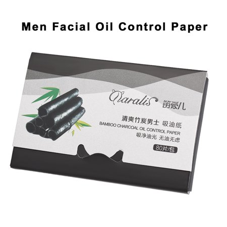 Daralis 1 Pack 80 Pieces Men Facial Absorbent Paper Oil Control Absorbing Sheet Bamboo Charcoal Oil Control Paper