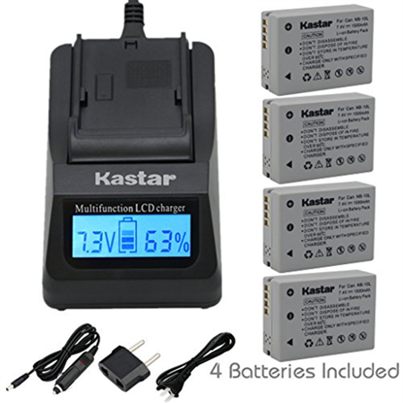 Kastar Ultra Fast Charger Kit and Battery (3-Pack) for Canon NB-10L, CB-2LC work with Canon PowerShot G1 X, PowerShot G15, PowerShot G16, PowerShot SX40 HS, PowerShot SX50 HS, PowerShot SX60