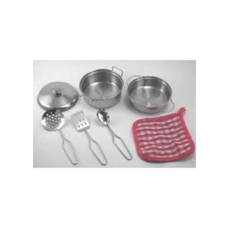 Toy pots and pan real metal kitchen set kid size for Kitchen set real