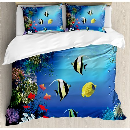 Underwater Duvet Cover Set, Tropical Undersea with Colorful Fishes Swimming in the Ocean Coral Reefs Artsy Image, Decorative Bedding Set with Pillow Shams, Blue, by Ambesonne